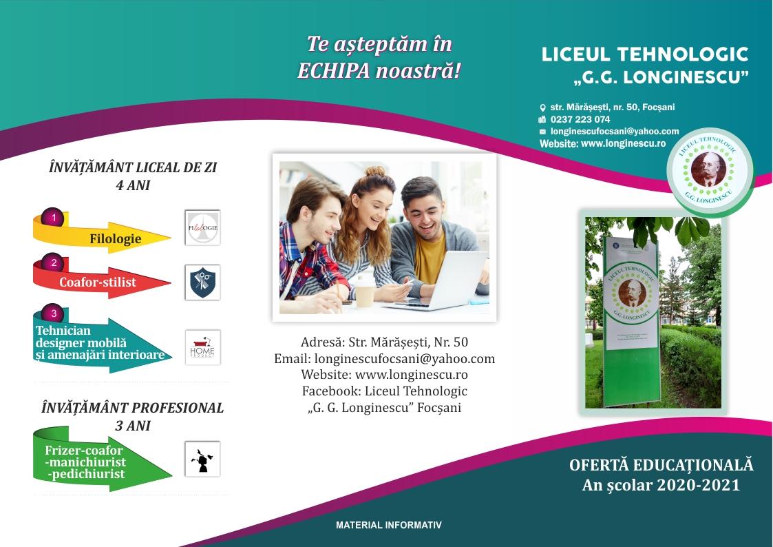 inscrieri liceul tehnologic gg longinescu