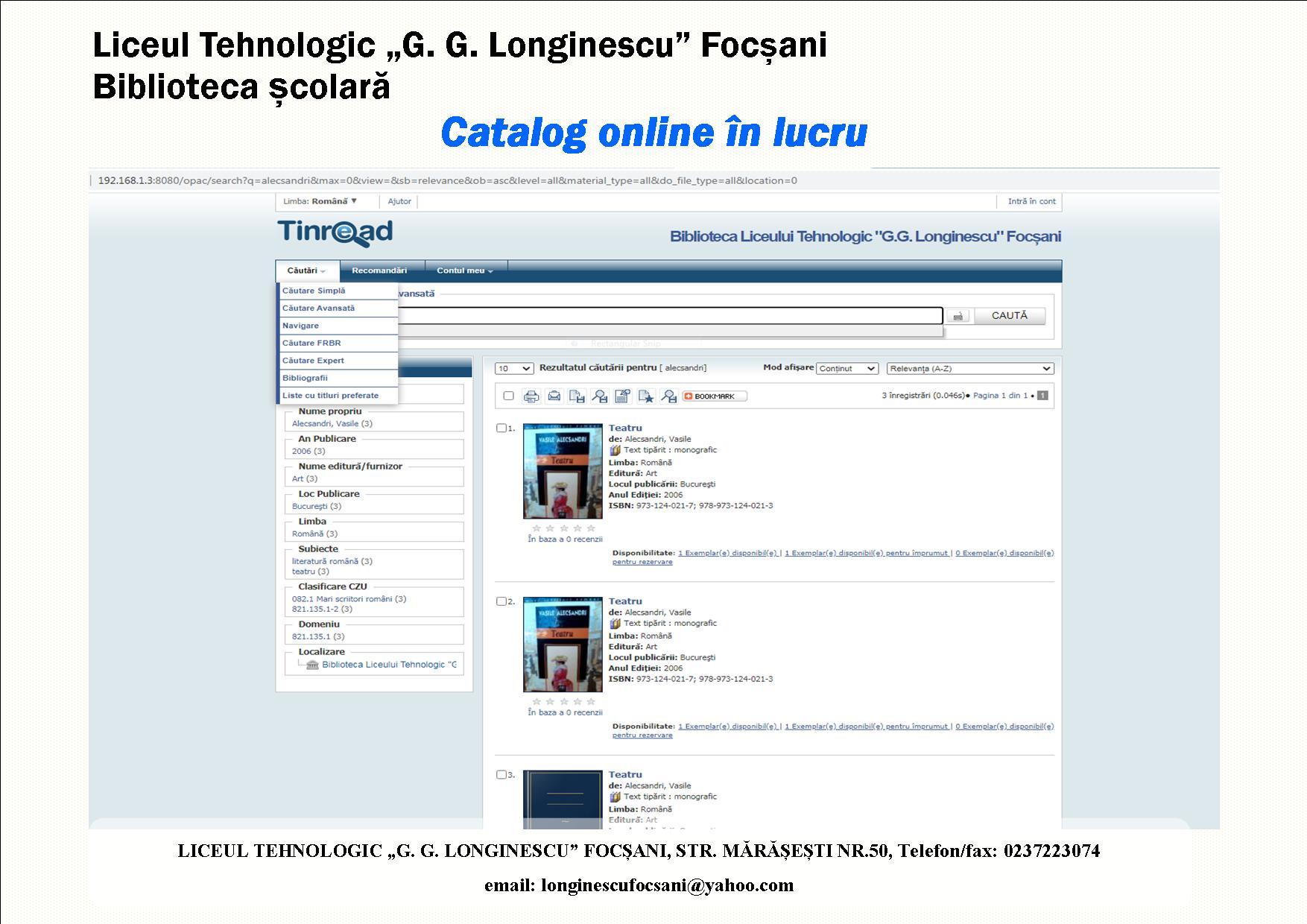 bibliotaeca liceul tehnologic gg longinescu